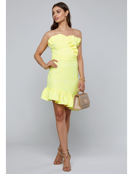 Ruffled Strapless Dress by Bebe