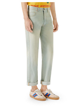 Men's Bleached 80s Straight Leg Jeans by Gucci