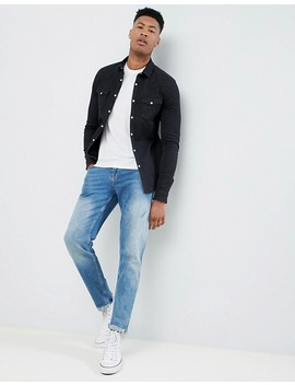 Asos Design Tall Skinny Western Denim Shirt In Black by Asos Design