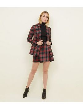 Black Tartan Check Blazer by New Look