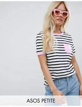Asos Design Petite Pocket Stripe T Shirt With Contrast Binding by Asos Design