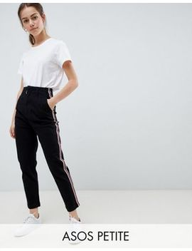 Asos Design Petite Cigarette Trousers In Black With Side Stripe by Asos Design