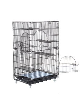 Large Cat Pets Wire Cage 2 Tier Cat Playpen Cat Cage With 2 Climbing Ladders & 2 Rest Benches & Hammocks Cats Home by Hillda