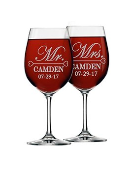 Mr And Mrs Wine Glasses   Personalized Engraved Wedding Gifts For Couples   Custom Monogrammed For Free   Set Of 2 by The Wedding Party Store