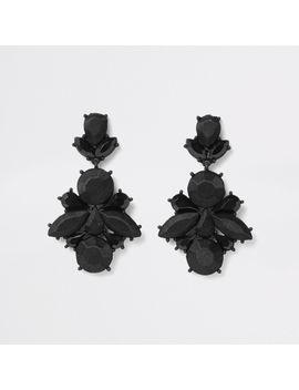 Black Satin Drop Jewel Earrings by River Island