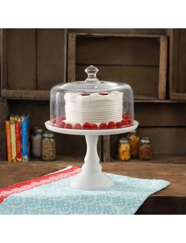 "The Pioneer Woman Timeless Beauty 10"" Milk White Glass Cake Stand by The Pioneer Woman"