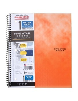 "Five Star® Wire Bound Notebook, College Ruled, 100pgs, 11"" X 9""   Orange Design by Mead Five Star®"