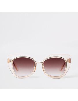 Beige Plastic Glam Aviator Sunglasses by River Island