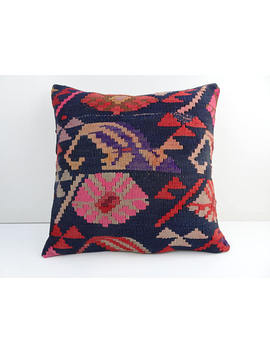 Anatolian Kilim Pillow,16x16 Inch 40x40 Cm Living Room Sofa Decor Ethnic Kilim Pillow Cover,Bohemian Decor Pillow,Kilim Coshion Cover. by Etsy