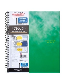 "Five Star® Wire Bound Notebook, College Ruled, 100pgs, 11"" X 9""   Green Design by Five Star"