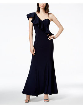 Asymmetrical Ruffle Gown by Xscape