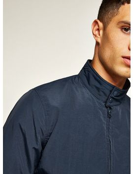 Navy Nylon Harrington Jacket by Topman