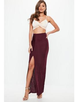 Burgundy Slinky Split Side Maxi Skirt by Missguided