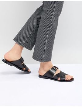 Pull&Bear Cross Strap Flat Sandal In Black by Pull&Bear