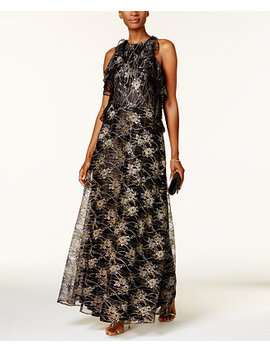 Metallic Lace Gown by Tahari Asl