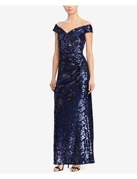 Off The Shoulder Sequin Gown by Lauren Ralph Lauren