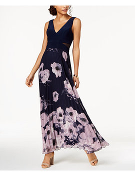 Pleated Floral Print Gown by Xscape