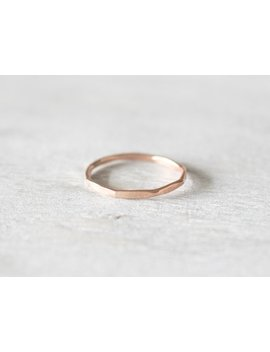 Thin Rose Gold Faceted Hammered Ring, Dainty Rose Gold Ring, Rose Gold Stacking Rings by Etsy
