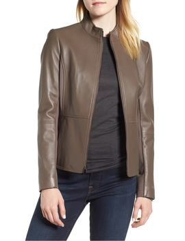 Stand Collar Leather Jacket by Via Spiga