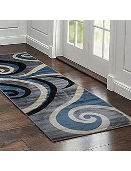 Premium Quality Runner Area Rugs In Size 3 X 8 Feet By Msrugs Made From Turkey With Classy Traditional Designs & Patterns Perfect For Indoor, Home & Kitchen  A Great Home Decor Idea (3 X 8 Feet, Blue) by Msrugs