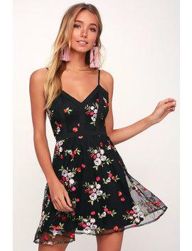 Favorite Fleur Black Mesh Floral Embroidered Skater Dress by Lulu's