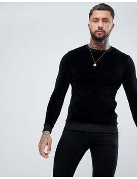 Asos   Aansluitend Sweatshirt Van Zwart Velours by Asos