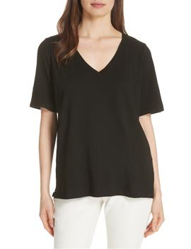 V Neck Organic Cotton Tee by Eileen Fisher
