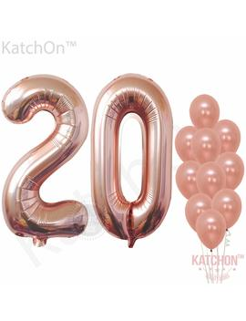 Rose Gold 20 Number Balloons   Large, 2 And 0 Mylar Rose Gold Balloons, 40 Inch | Extra Pack Of 10 Latex Baloons, 12 Inch | Great 20th Birthday Party Decorations| 20 Year Old Rose Gold Party Supplies by Katchon