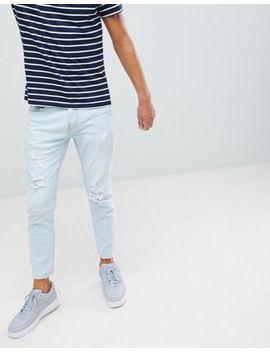 Pull&Bear   Smalle Jeans In Lichtblauw Met Scheuren by Asos