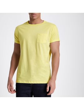Yellow Rolled Sleeve Pocket T Shirt by River Island