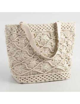 White Macrame Picnic Insulated Tote Bag by World Market