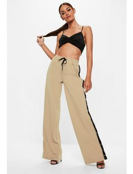 Tall Stone Popper Side Trousers by Missguided
