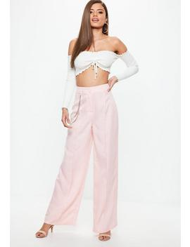 Pink Check Chain Detail Wide Leg Trousers by Missguided