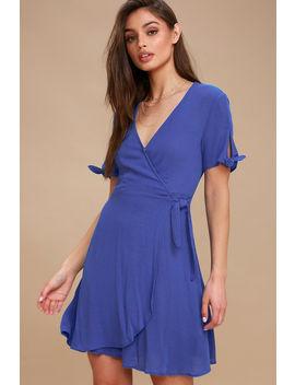 My Philosophy Royal Blue Wrap Dress by Lulu's