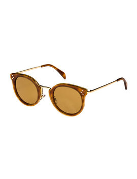 Round Acetate & Metal Sunglasses W/ Mineral Lenses, Medium Brown by Celine
