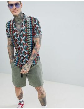 Asos Design Festival Overhead Shirt In Geo Tribal Print With Beaded Collar by Asos Design