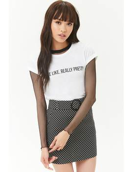Belted Polka Dot Mini Skirt by Forever 21