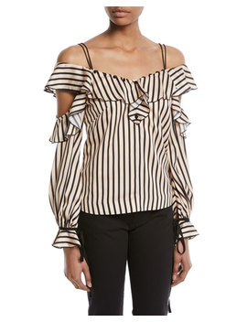 Striped Off The Shoulder Satin Frill Top by Self Portrait