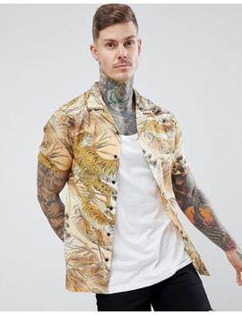 Asos Design Regular Fit Tiger Print Shirt by Asos Design