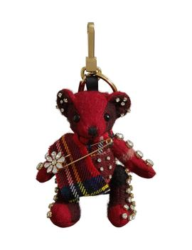 Thomas Bear Check Cashmere Bag Charm With Crystal Kilt Pin by Burberry