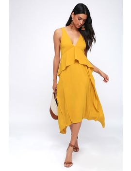 Bea Mustard Yellow Ruffled Midi Dress by Lulu's