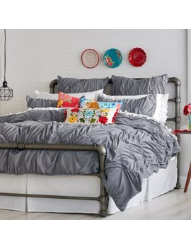 The Pioneer Woman Ruched Chevron Comforter, Grey by The Pioneer Woman