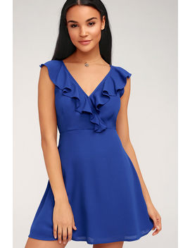 Triana Royal Blue Ruffled Backless Dress by Lulu's