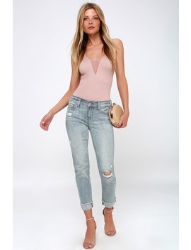 Sasha Light Wash Distressed Skinny Jeans by Lulu's