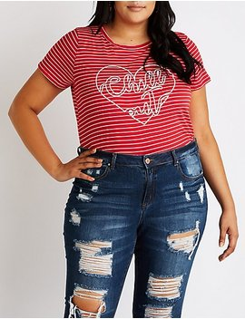 Plus Size Striped Chill Out Tee by Charlotte Russe