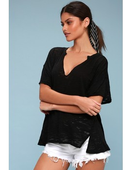Maddie Black Burnout Tee by Lulu's