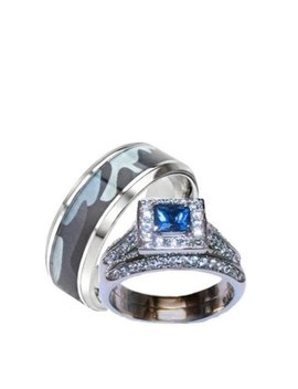 His Hers Blue And Clear Stone Wedding Ring Set Men's Blue Camouflage Band by Edwin Earls