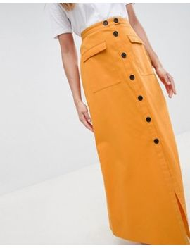 Asos Design Cotton Twill Maxi Skirt With Button Front by Asos Design