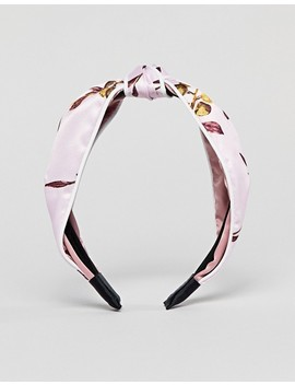 Asos Design Knot Headband In Pink Floral Print by Asos Design