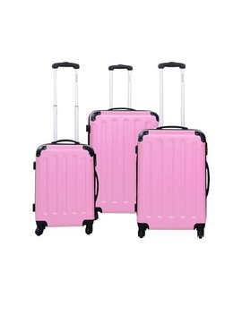 Globalway 3 Pcs Luggage Travel Set Bag Abs Trolley Suitcase Pink by Costway